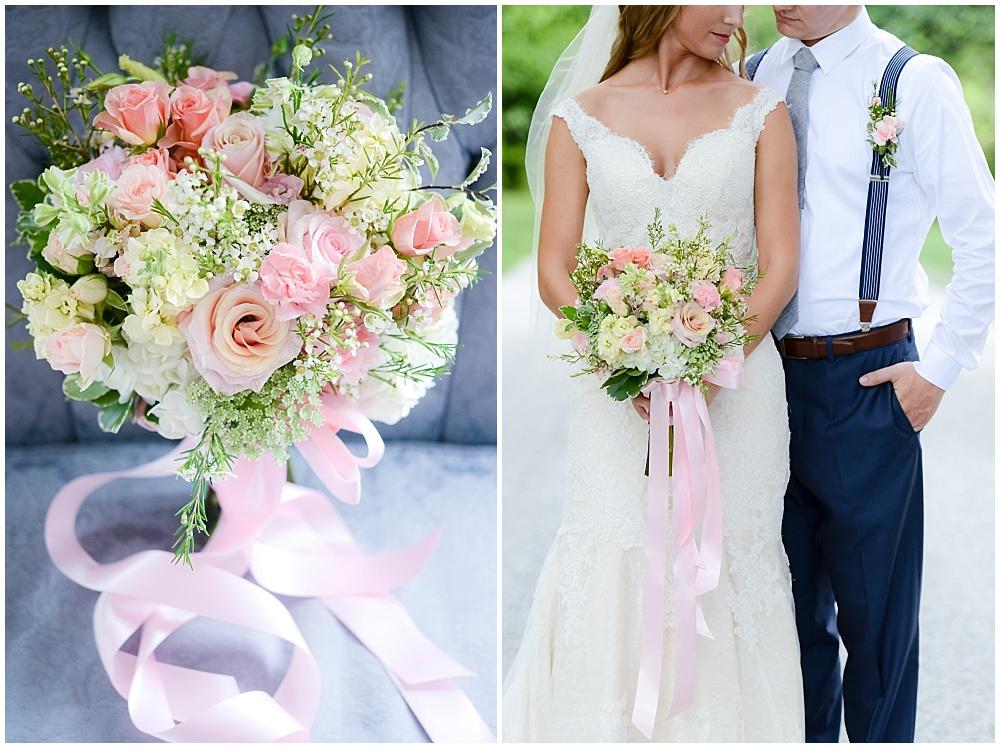 Blush, white and green bridal bouquet | Mustard Seed Gardens Wedding by Sara Ackermann Photography & Jessica Dum Wedding Coordination