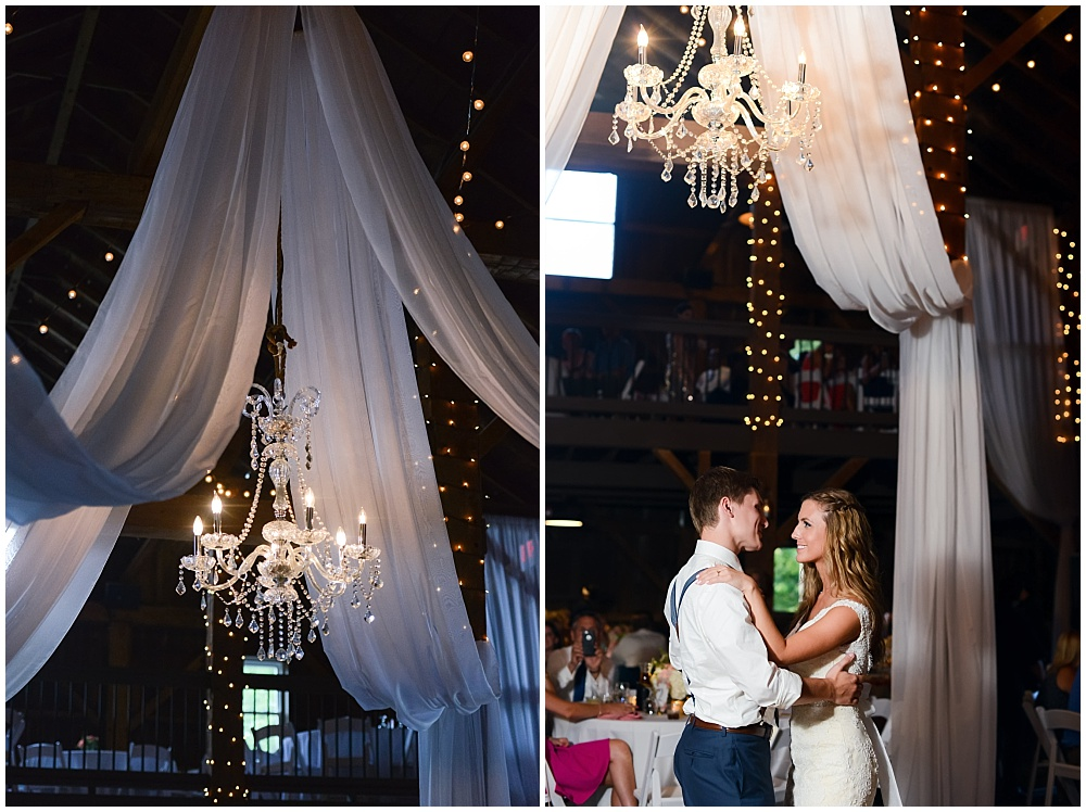 First Dance under chandelier and white draped fabric | Mustard Seed Gardens Wedding by Sara Ackermann Photography & Jessica Dum Wedding Coordination