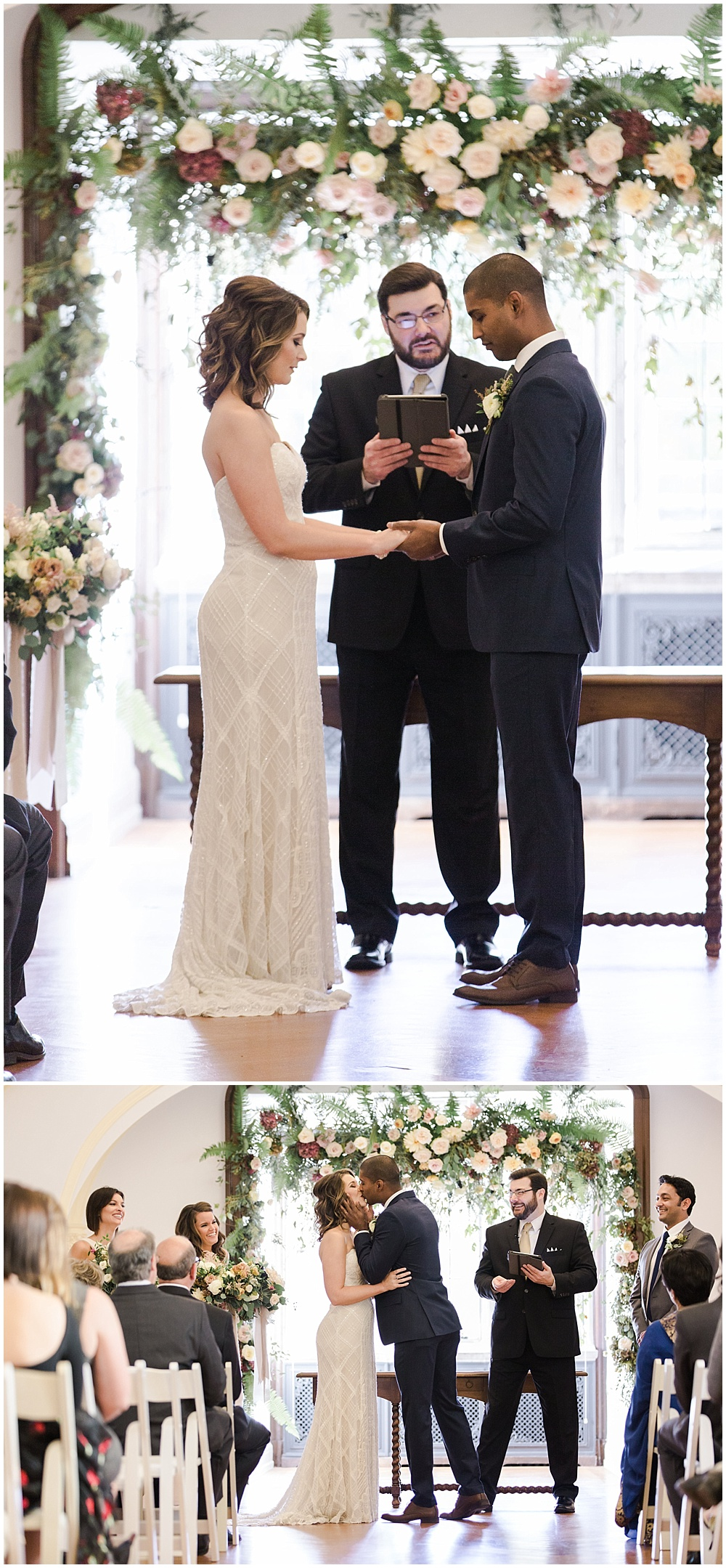 Floral arch for ceremony | Navy and Gold Wedding at Laurel Hall with Ivan & Louise Photography + Jessica Dum Wedding Coordination