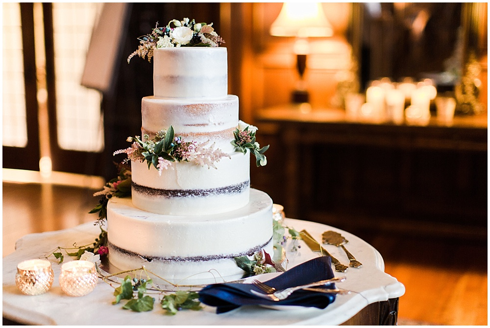 naked wedding cake | Navy and Gold Wedding at Laurel Hall with Ivan & Louise Photography + Jessica Dum Wedding Coordination