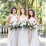 Blush bridesmaids dresses with fall bouquets Bride and groom portraits   Laurel Hall wedding with Ivan & Louise Images + Jessica Dum Wedding Coordination