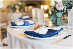 Navy and gold place setting   Laurel Hall wedding with Ivan & Louise Images + Jessica Dum Wedding Coordination