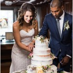 Bride and groom cutting naked wedding cake   Laurel Hall wedding with Ivan & Louise Images + Jessica Dum Wedding Coordination