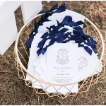 Simple navy ceremony programs and basket, navy and pink southern wedding | Ivan & Louise Images and Jessica Dum Wedding Coordination