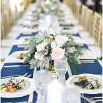 Navy tablescape with blush florals, navy and pink southern wedding | Ivan & Louise Images and Jessica Dum Wedding Coordination