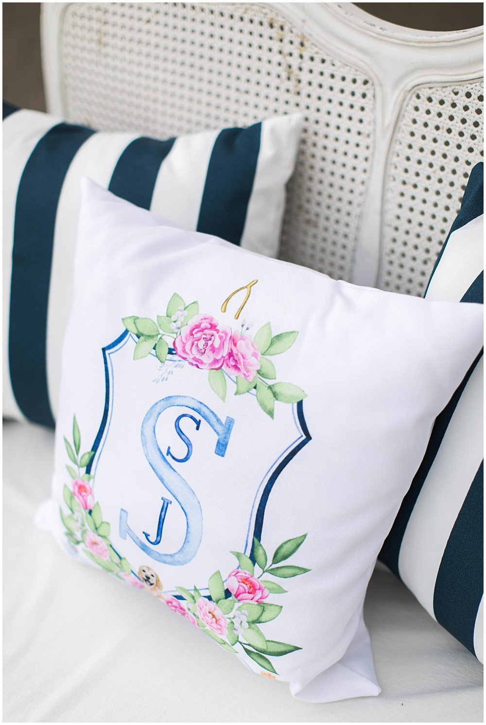 Accent pillow with wedding monogram crest, navy and pink southern wedding | Ivan & Louise Images and Jessica Dum Wedding Coordination