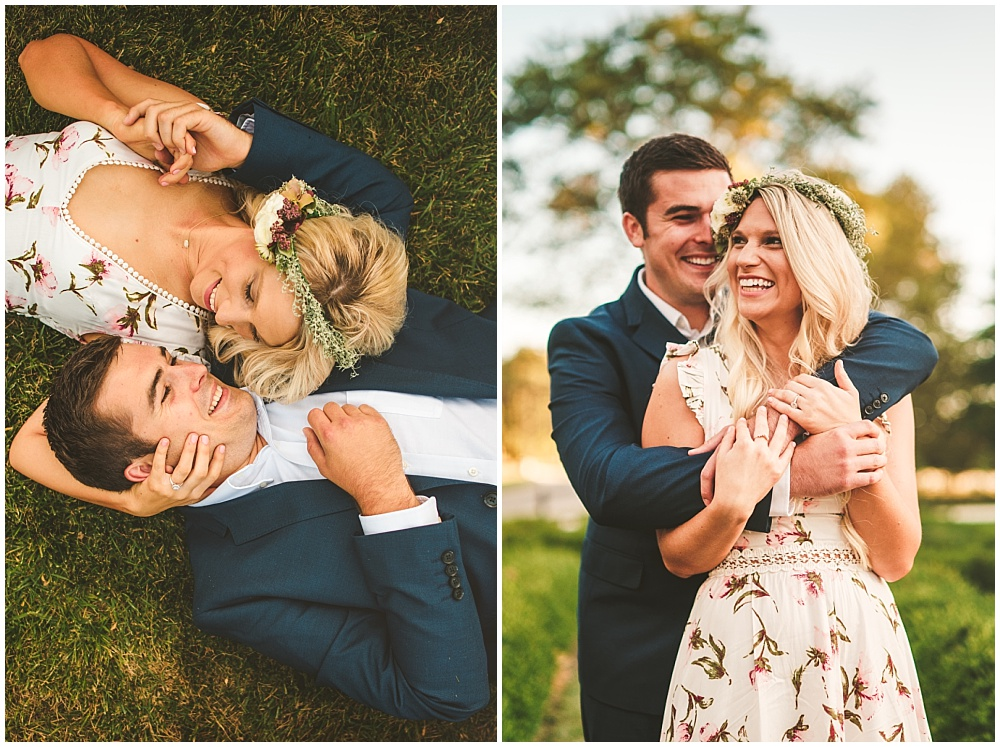 Fall golden hour engagement shoot with floral dress and flower crown | Alecio Photography