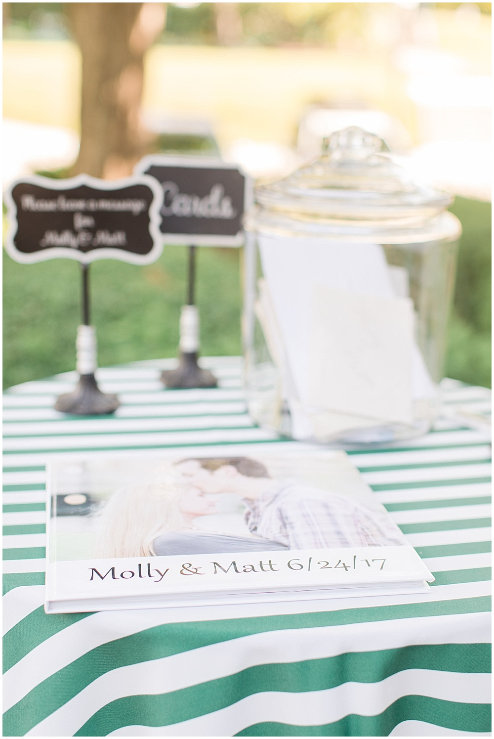 green striped linens; photo guest book; woodstock country club wedding | Sami Renee Photography + Jessica Dum Wedding Coordination