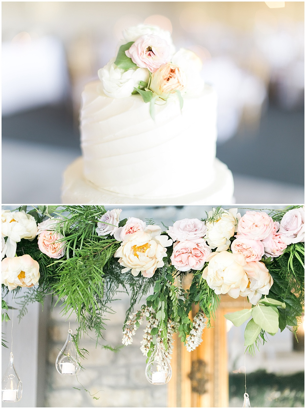 white wedding cake, suspended head table florals, subtle cake flowers, Spring floral + gold wedding | Ivan & Louise Images | Jessica Dum Wedding Coordination