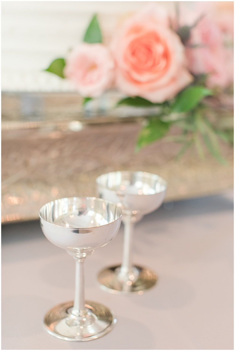 Antique silver champagne flutes | Sami Renee Photography + Jessica Dum Wedding Coordination