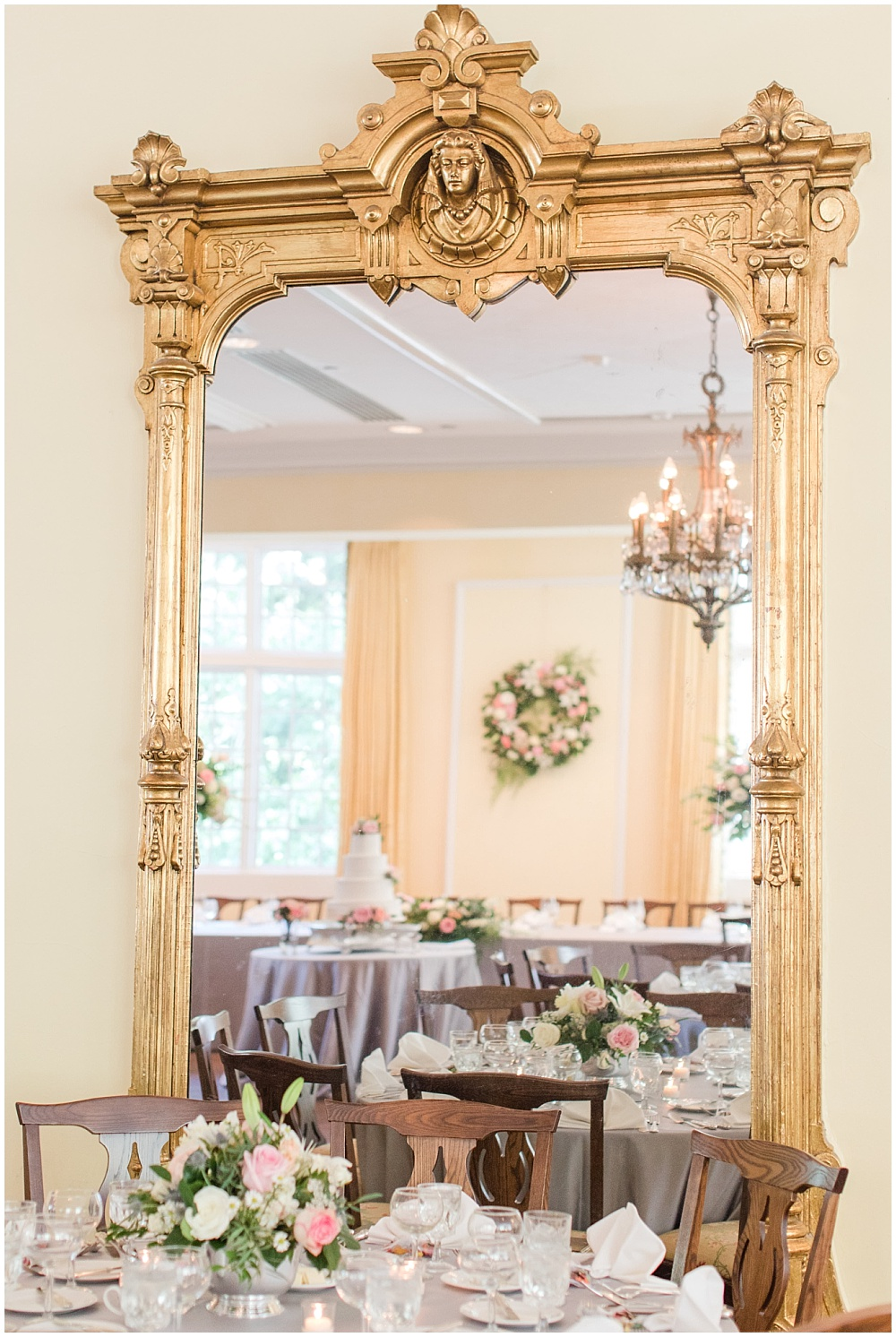 Gold mirror; elegant gray and blush wedding reception | Sami Renee Photography + Jessica Dum Wedding Coordination