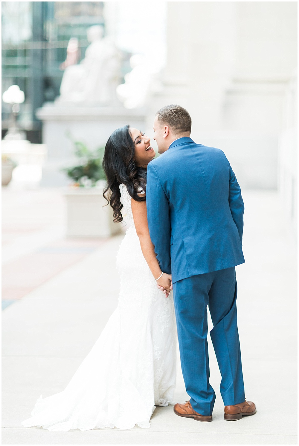 bride and groom; lace wedding gown; Mexican inspired gold & floral wedding; Crowne Plaza Indianapolis Downtown Union Station; neutral floral and greenery wedding|Cory + Jackie and Jessica Dum Wedding Coordination