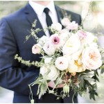 groom with bridal bouquet; blush, purple, peach and white bridal bouquet with greenery; Spring floral + gold wedding | Ivan & Louise Images | Jessica Dum Wedding Coordination