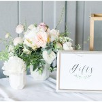 wedding gift table; wooden card box; hand lettered gifts and cards sign; Spring floral + gold wedding | Ivan & Louise Images | Jessica Dum Wedding Coordination