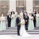 green bridesmaid dresses; black tuxes; ivory and greenery bouquets; Scottish Rite Cathedral Indianapolis Wedding; neutral floral and greenery wedding| Ivan & Louise Images and Jessica Dum Wedding Coordination
