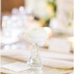 glass vanilla lace BBJ Linen chargers; individual bud vases with white flowers at each place setting; ; Scottish Rite Cathedral Indianapolis Wedding; neutral floral and greenery wedding| Ivan & Louise Images and Jessica Dum Wedding Coordination