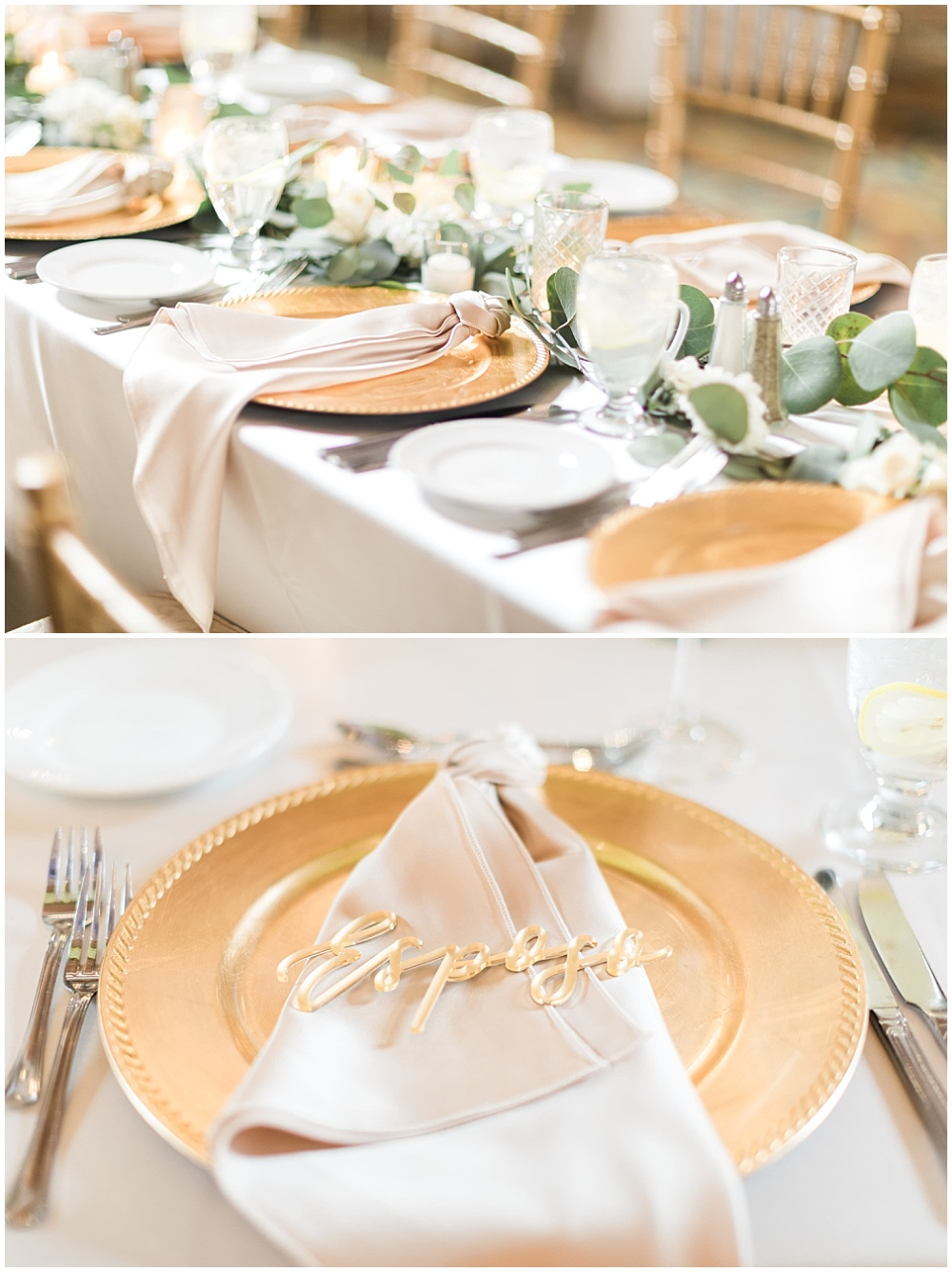 blush rose-knotted napkins; esposa laser cut placecards; bride and groom placecards; draped greenery; Mexican inspired gold & floral wedding; Crowne Plaza Indianapolis Downtown Union Station; neutral floral and greenery wedding|Cory + Jackie and Jessica Dum Wedding Coordination