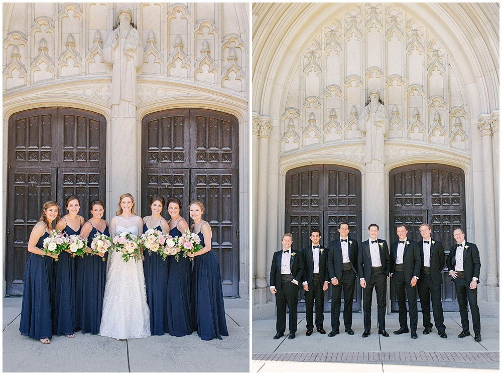 navy bridesmaid dresses; blush wedding flowers; Navy + blush wedding; Scottish Rite Cathedral| Traci & Troy Photography and Jessica Dum Wedding Coordination
