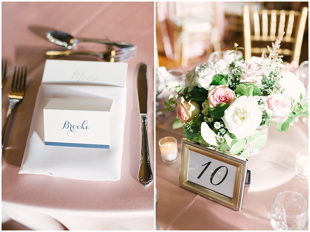 navy place cards; gold table numbers; blush table linens; Navy + blush wedding; Scottish Rite Cathedral| Traci & Troy Photography and Jessica Dum Wedding Coordination