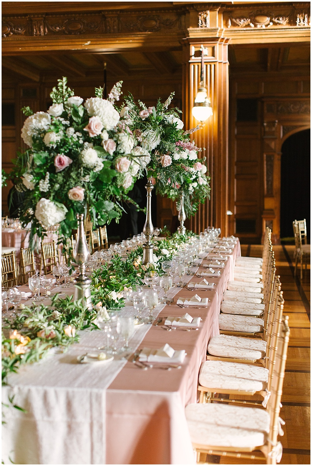 blush tablescape; blush kings table; bridal party head table; tall floral centerpieces; Navy + blush wedding; Scottish Rite Cathedral| Traci & Troy Photography and Jessica Dum Wedding Coordination