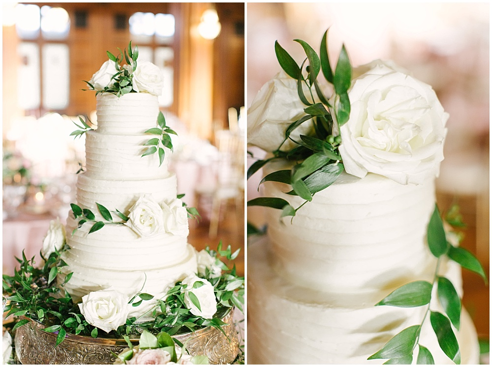 white wedding cake with greenery sprigs; Navy + blush wedding; Scottish Rite Cathedral Indianapolis | Traci & Troy Photography and Jessica Dum Wedding Coordination