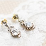 diamond earrings; bridal earrings; lace veil; Mexican inspired gold & floral wedding; Crowne Plaza Indianapolis Downtown Union Station; neutral floral and greenery wedding|Cory + Jackie and Jessica Dum Wedding Coordination