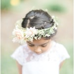 flower girl; white flower girl dress; flower crown; Mexican inspired gold & floral wedding; Crowne Plaza Indianapolis Downtown Union Station; neutral floral and greenery wedding|Cory + Jackie and Jessica Dum Wedding Coordination