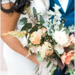 kelly lenard flowers; bridal bouquet; Mexican inspired gold & floral wedding; Crowne Plaza Indianapolis Downtown Union Station; neutral floral and greenery wedding|Cory + Jackie and Jessica Dum Wedding Coordination