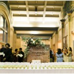 tequila shots escort cards with limes; tequila shots; gold picks; wood welcome sign: Mexican inspired gold & floral wedding; Crowne Plaza Indianapolis Downtown Union Station; neutral floral and greenery wedding|Cory + Jackie and Jessica Dum Wedding Coordination
