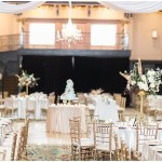 blush and gold wedding; blue naked cake; kelly lenard flowers; crystal chandelier and white draping; Mexican inspired gold & floral wedding; Crowne Plaza Indianapolis Downtown Union Station; neutral floral and greenery wedding|Cory + Jackie and Jessica Dum Wedding Coordination