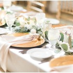 rose napkin fold; blush and gold tablescape; draped greenery; Mexican inspired gold & floral wedding; Crowne Plaza Indianapolis Downtown Union Station; neutral floral and greenery wedding|Cory + Jackie and Jessica Dum Wedding Coordination