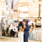 bride and groom first dance; Mexican inspired gold & floral wedding; Crowne Plaza Indianapolis Downtown Union Station; neutral floral and greenery wedding |Cory + Jackie and Jessica Dum Wedding Coordination