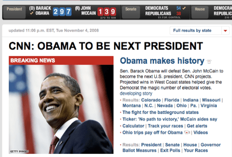 Obama Makes History in 2008 being Elected as President of USA