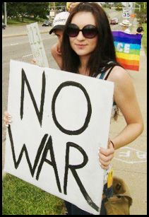 NO WAR PEACE PROTEST SIGN