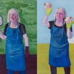 Lena Cronqvist. Självporträtt med spegel och vante, 2006. Självporträtt med röd och orange handdocka, 2006