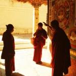 Lamas conversing at Punakha Dzong