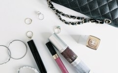 beauty products in travel bag