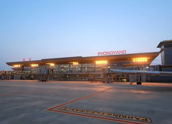 KCNA Reuters North Korea Pyongyang airport exterior