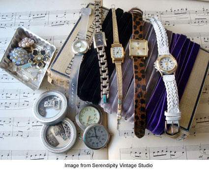 items needed to make a vintage velvet ribbon slide bracelet