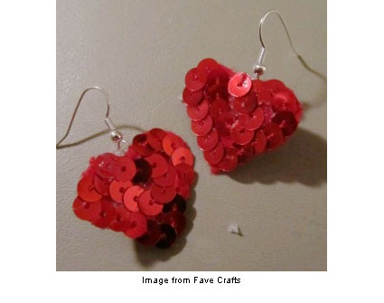 Sequined heart earrings from Fave Crafts