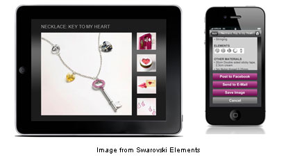 photos of iPad and iPhone displaying Swarovski Elements app