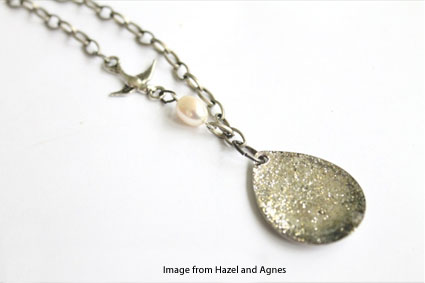 sparkling raindrop pendant from Hazel and Agnes