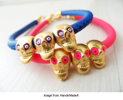golden and neon skull bracelets from HandeMadeIt