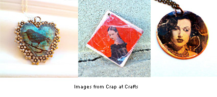 images transfered to jewelry using packing tape by Emily at Crap at Crafts