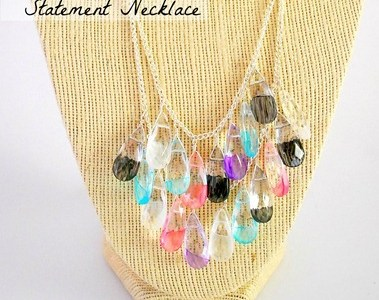 Painted Glass Teardrop Statement Necklace