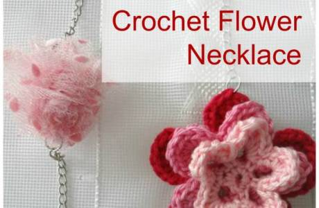 Crochet Flower and Pom Pom Necklace DIY