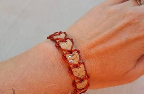 Laced Heart Cork Bracelet Tutorial