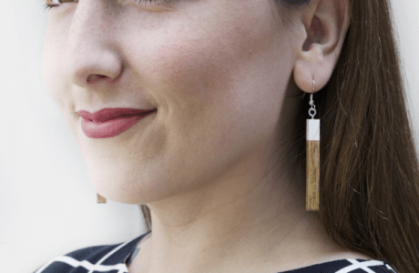Modern Wooden Dangle Earrings
