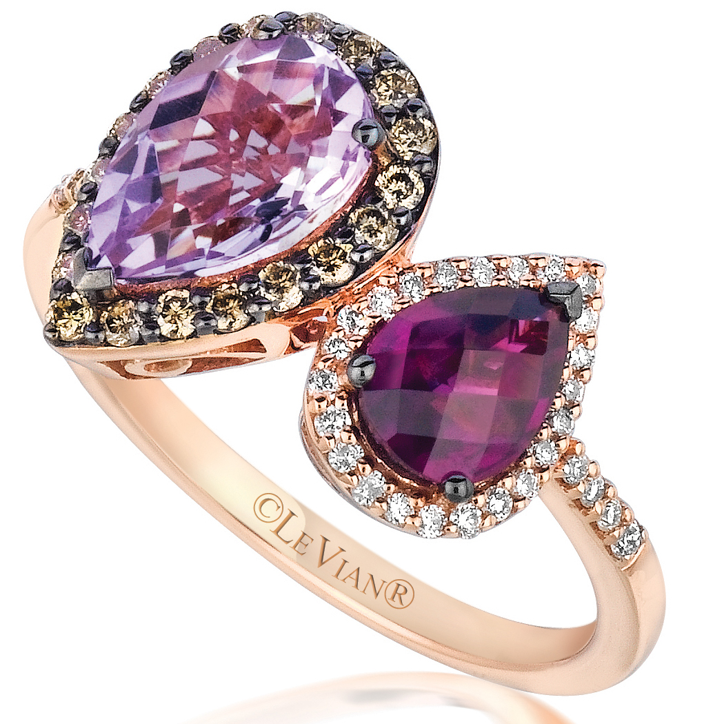 new le vian jewelry le vian wedding bands Le Vian 14K Strawberry Gold Raspberry Rhodolite and Cotton Candy Amethyst Ring with 35 Carat