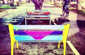 Bench on Rothschild Blvd, Tel Aviv, by Michelle Appelbaum